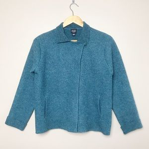Eileen Fisher Blue Wool One Button Jacket Petite